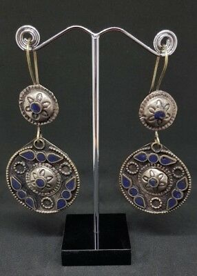 Old Beautiful silver plated lapis lazuli Earrings From Afghanistan 5