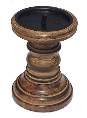 Rustic Shabby Chic Solid Carved Pillar Church Wooden Candle Holder Stick Stand 9
