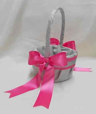 Wedding light gray hot pink flower girl basket ring pillow guest 2 of 7 wedding light gray hot pink flower girl basket ring pillow guest book card box mightylinksfo