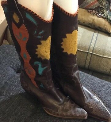 5e2e26e098e BCBG WOMEN'S LEATHER Cowboy Boots Multi Colored w/Turquoise, Orange, Gold  Sz. 7