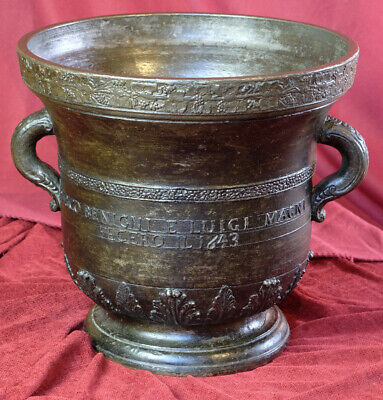 Italien Monumental Bronze Mörser Apotheke Weinranken Ornament Datiert 80 Kg 1643 2