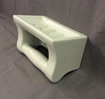 Vtg Ceramic White Porcelain Soap Dish Grab Bar Wall Mount Old Fixture 21-19D 6