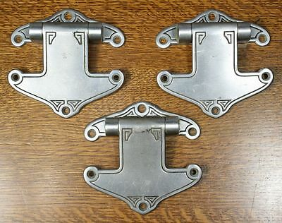 Vintage Art Deco / Nouveau Cast Metal Hinges. Set of 3 Unusual Design 2