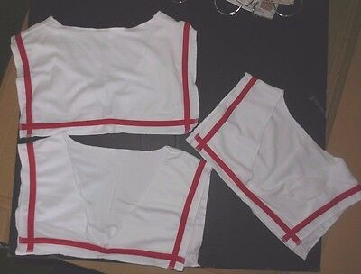 new Lot of 3 Dance Costume Sailor Collars White trimmed in red Pin on