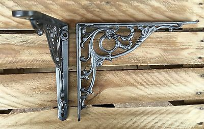 "Pair Pewter 10x8"" ANTIQUE HEAVY CAST IRON VICTORIAN SHELF WALL BRACKETS BR28px2 4"