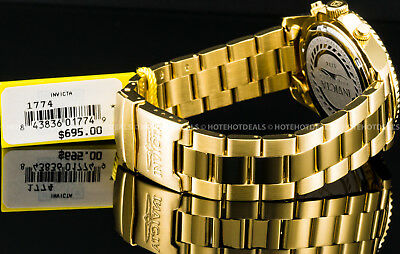 Invicta Mens Pro Diver Chronograph Champagne Dial 18K Gold Plated SS 200MT Watch 4