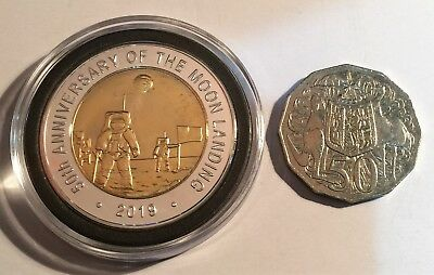 """2019 """"50th Anniversary Of The Moon Landing"""" 43 mm Coin, Limited to 2500 C.O.A 5"""