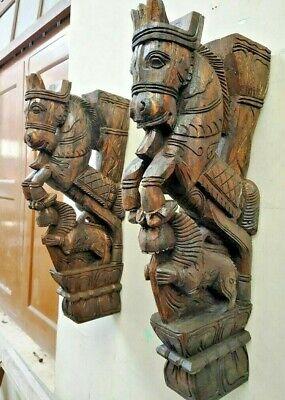 Wall Bracket Horse Sculpture Corbel Pair Wooden Yali Statue Wall Shelf Decor US 2