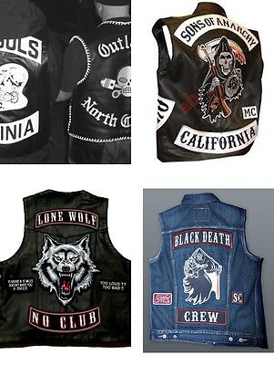 Club 7 Embroidered Vest Side Biker Motorcycle Rocker Mc Custom Patch IYbfg7v6y