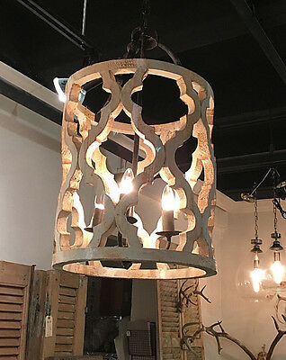 Stunning Rustic French Boho Anthropologie Style White Washed Wood Chandelier 3