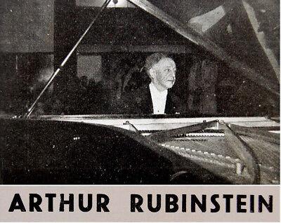 1958 ISRAEL CONCERT PROGRAM Piano ARTHUR RUBINSTEIN Beethoven BRAHMS  Saint-Saens
