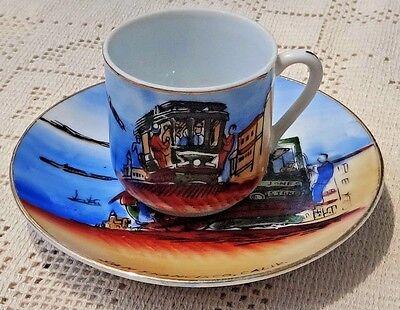 Vintage Souvenir Hand Painted Porcelain Cup & Saucer - San Francisco Cable Car 2