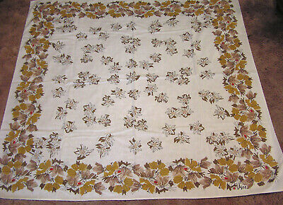 Vintage Cotton Tablecloth VERA Signed Shades of Brown Flowers and Red Ladybugs 5