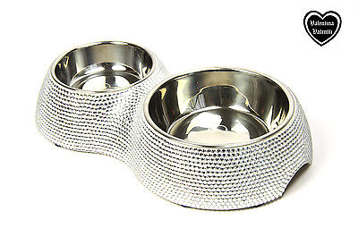 Valentina Valentti Cat Dog Pet Feeder Crystallised Double Pet Food Bowl Silver S 2