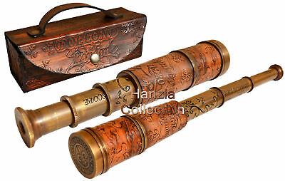 Antique Brass Telescope Marine Nautical Leather Pirate Spyglass Vintage Scope 11