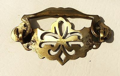 """Circa 1750 Chippendale Federal antique hardware drawer pull brass 2 1/2"""" center 3"""