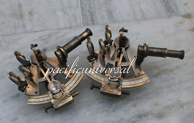 "2PCS 4"" BRASS SEXTANT Beautiful Solid Brass Marine Nautical ANTIQUE SEXTANT 4"