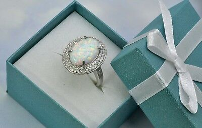 Fire Opal 8mm Classic Cabochon Premium 925 Sterling Silver Ring .Promotion