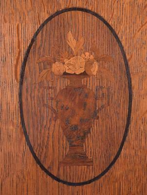*Pair of Antique French Inlaid Marquetry Solid Oak Panels with Urns 7