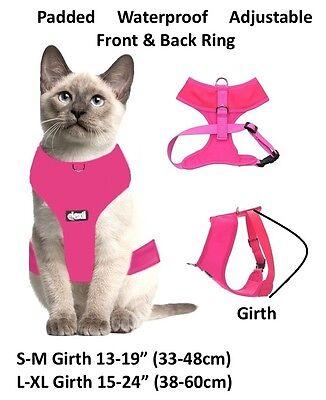 Cat Harness Pink Black Blue Yellow Red Waterproof Padded Adjustable  S M L EX L 8