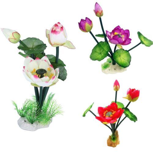 Neuf Plante Artificielle Herbe Aquatique Ornement Aquarium Lotus Une Fleur Décor 2