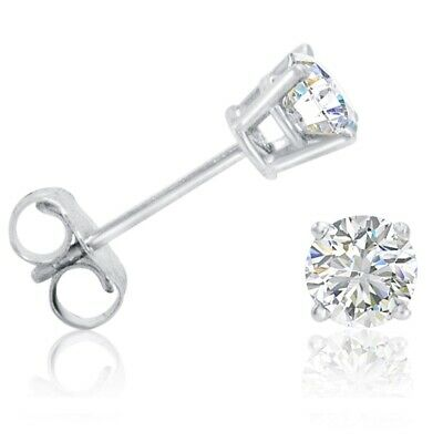 1/2ct Real (Natural) Round Diamond Solitaire Stud Earring set in 14K White Gold 3