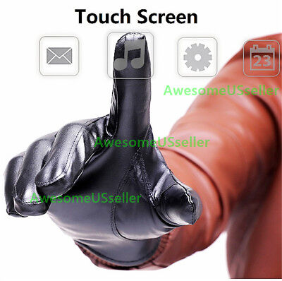 Men Women Winter Gloves Touch Screen Windproof Waterproof Leather Thick Snow USA 3