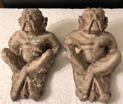 Pair Greek Pan Stone Sculpture Statue Wall Art