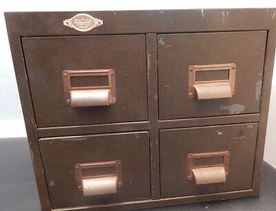 Art Deco Art Metal Green Index Card 4 drawer filer very heavy solid metal Vintag 2