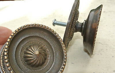 """2 heavy handle KNOB aged old solid Brass PULL large knobs kitchen 2"""" regency 4"""