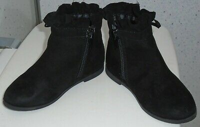 Young Girls River Island Boots Uk 7 Eur 23 Black Suede Tassles Bows Zips 4
