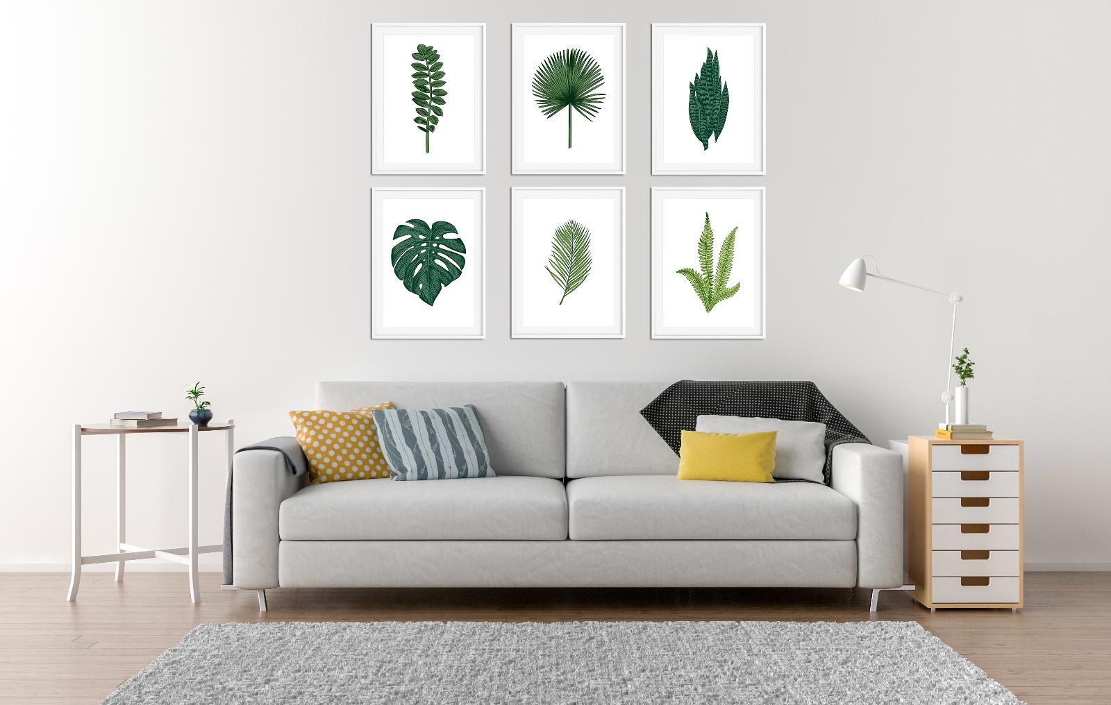 Botanical Prints / Pictures Living Room Decor Plants Leaf Palm Fern 2