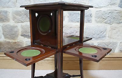 Antique Side Table Inlaid Mahogany Sweetheart Tapered Legs Fold Out Sides Rare 9