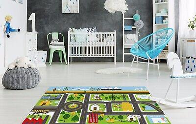 Road Map Kids Bedroom Floor Rug Boys Soft Play Mats Carpets Non-Slip Washable