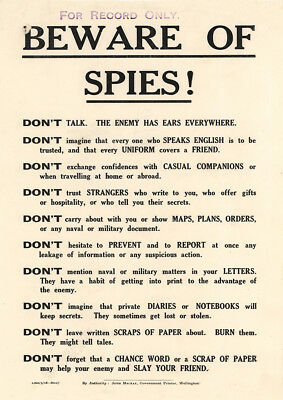 Beware Of Spies War Propaganda Poster Print Picture A3 A4