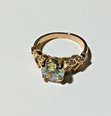 Crystal Rose Gold Rings Vtype Mosaic Jewellery Gifts UK One Size