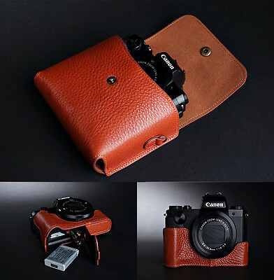Handmade Genuine Real Leather Half Camera Case Bag Cover for Canon G5X Black Color