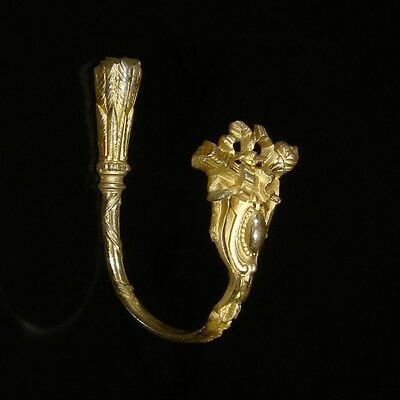 Antique French Gilded Bronze Ornament HookTieback, Neoclassic, Quiver, Stamped 3