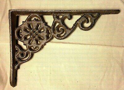"SET of 2 ANTIQUE BRONZE VICTORIAN FLORAL STYLE cast iron brace bracket corbel 6"" 3"