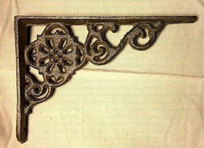 "SET of 4 ANTIQUE BRONZE VICTORIAN FLORAL STYLE cast iron brace bracket corbel 6"" 2"