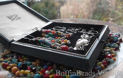 Antique tassel EARRINGS Venetian Bohemian vintage beads LONG .925 colourful Afro 5