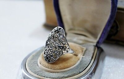 ART DECO vintage STERLING Silver MARCASITE Ring  7 1/2 2