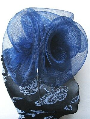 navy blue feather fascinator millinery burlesque headband wedding hat hair 2