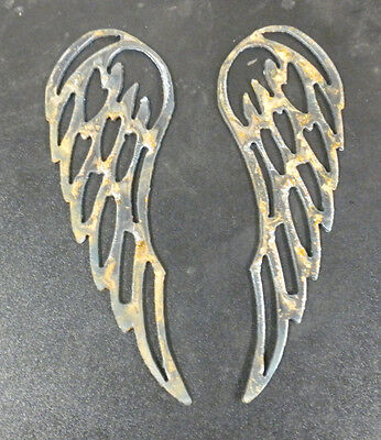 "Lot of 2 Angel Wings 6"" Rough Rusty Metal Vintage Stencil Ornament Magnet Craft 2"