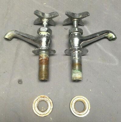 Pair Chrome Separate Hot Cold Cross Handle Faucets Vintage 199-19L 5