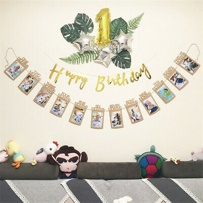 I Am One 1st Birthday Party Bunting Banner Rustic Vintage Boy Girl Baby Shower 6