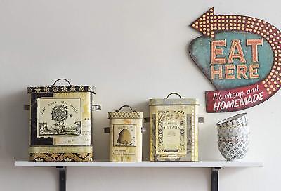 1950s Retro Kitchen Wall Decor Eat Here Living Room Bar Distressed Tin 35 99 Picclick
