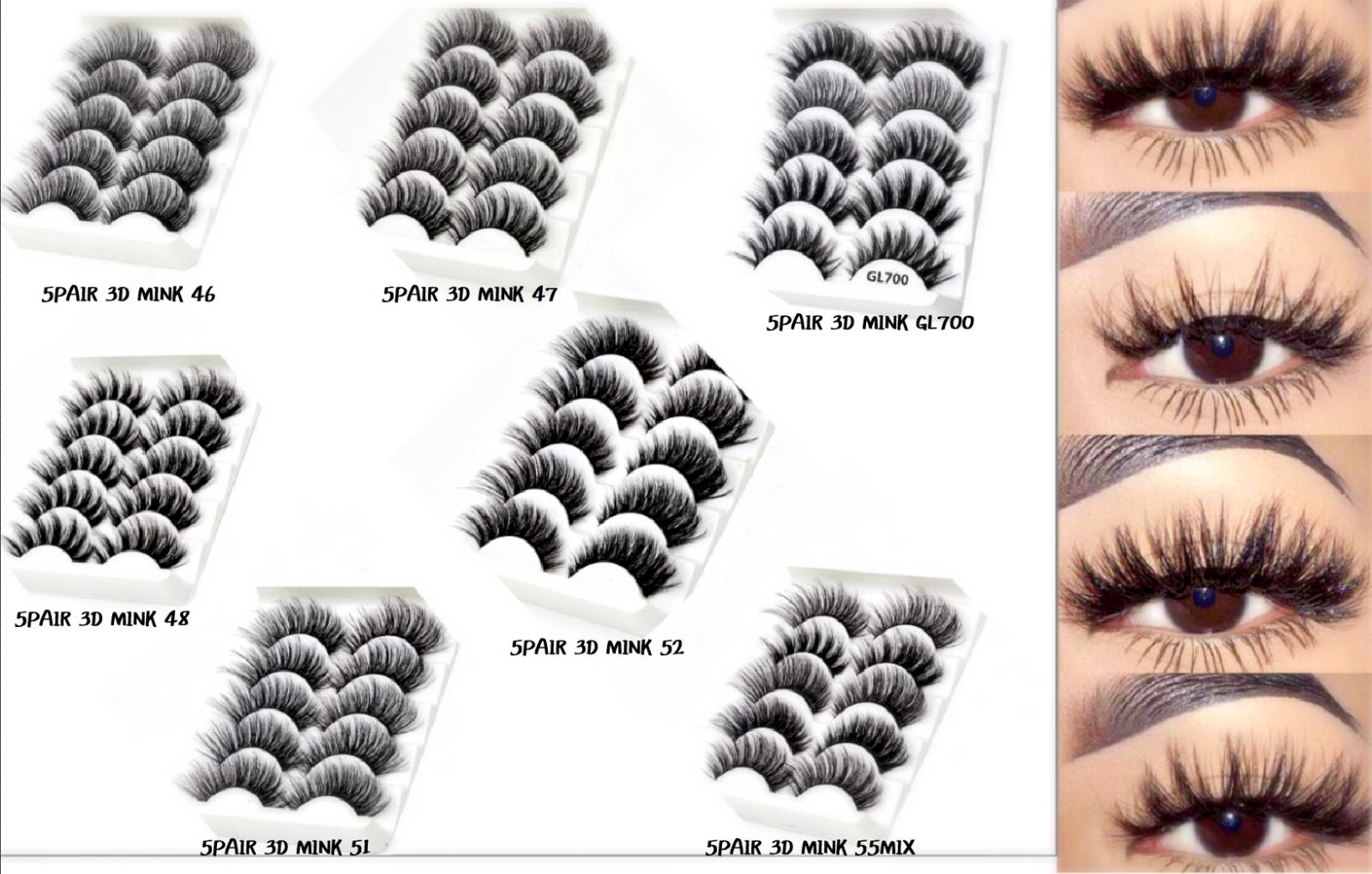 UK 5 Pairs 3D Fake Eyelashes Long Thick Natural False Eye Lashes Set Mink Makeup 2