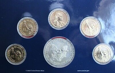 2012 US Mint Annual Uncirculated Dollar 6 Coin Set ASE Presidents Sacagawea $1 4