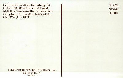 Confederate Soldiers Gettysburg Pennsylvania, Battle of Am. Civil War - Postcard 2